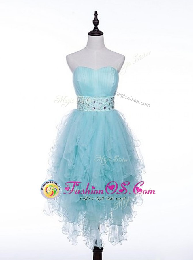 Exceptional Light Blue A-line Beading Prom Party Dress Zipper Tulle Sleeveless Asymmetrical