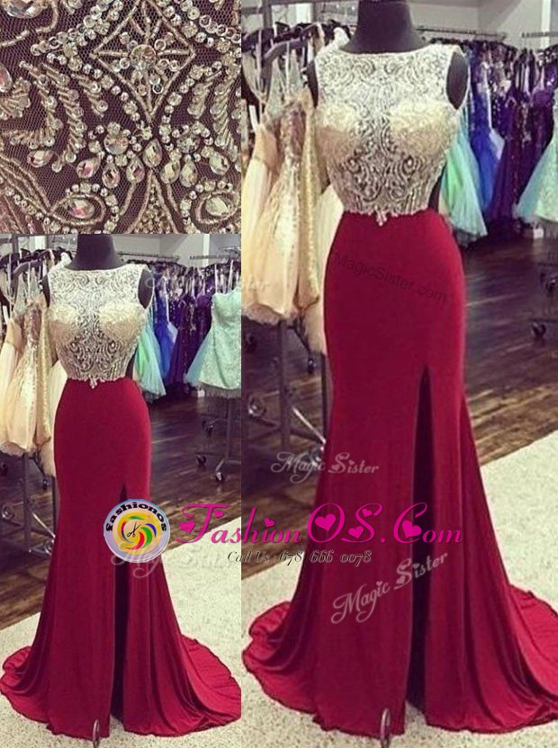 Mermaid Burgundy Sleeveless Chiffon Brush Train Backless Evening Dress for Prom and Party