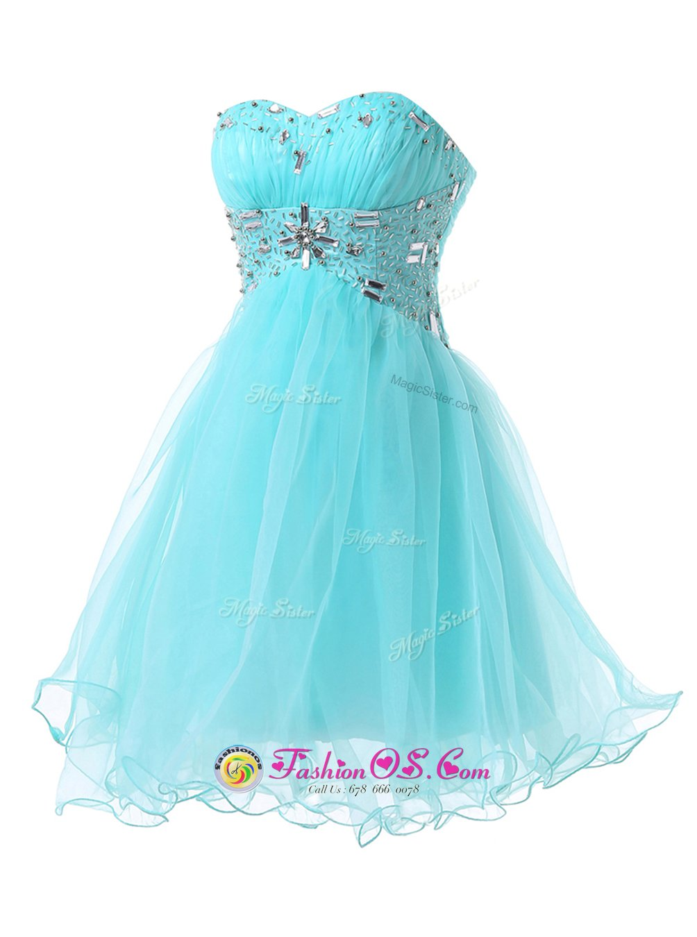 Noble Knee Length A-line Sleeveless Blue Homecoming Dress Lace Up