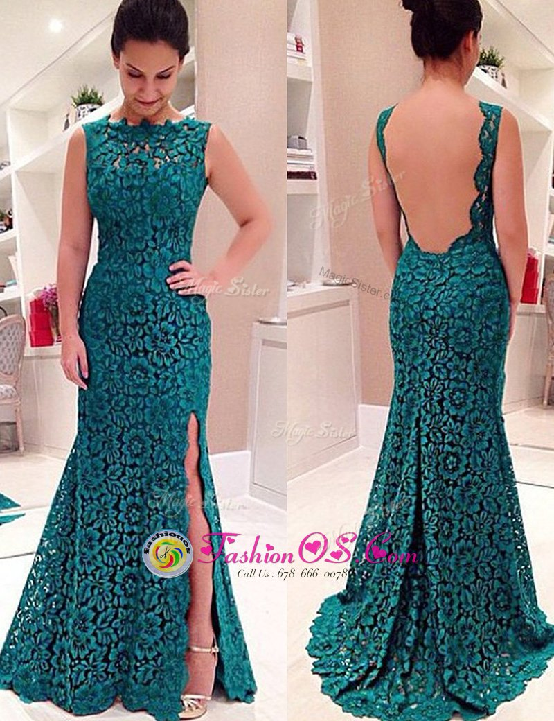 Mermaid Scalloped Sleeveless Backless Prom Dresses Teal Lace