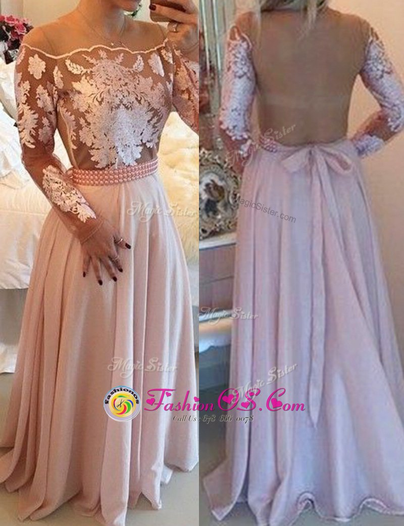 Scoop Pink Side Zipper Prom Dress Beading and Appliques and Sashes|ribbons Long Sleeves Floor Length
