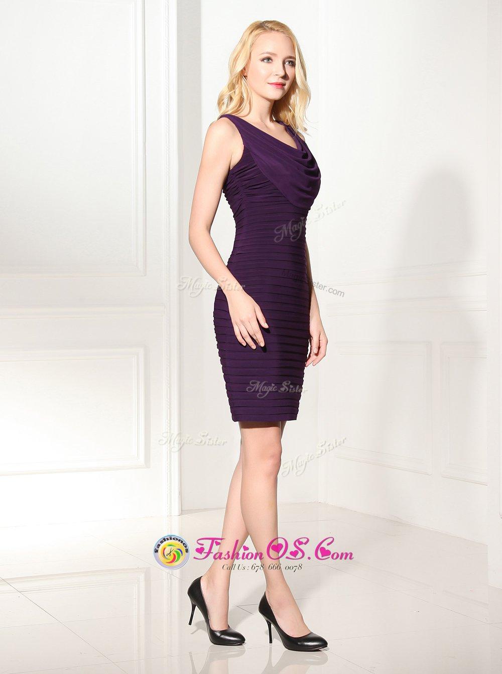 Customized Scoop Sleeveless Silk Like Satin Mini Length Zipper Homecoming Dress in Purple for with Ruffles