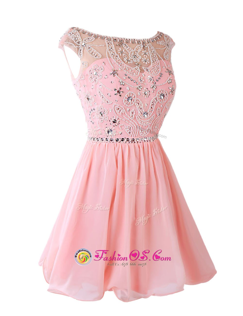 Chiffon Sleeveless Knee Length Prom Evening Gown and Sashes|ribbons
