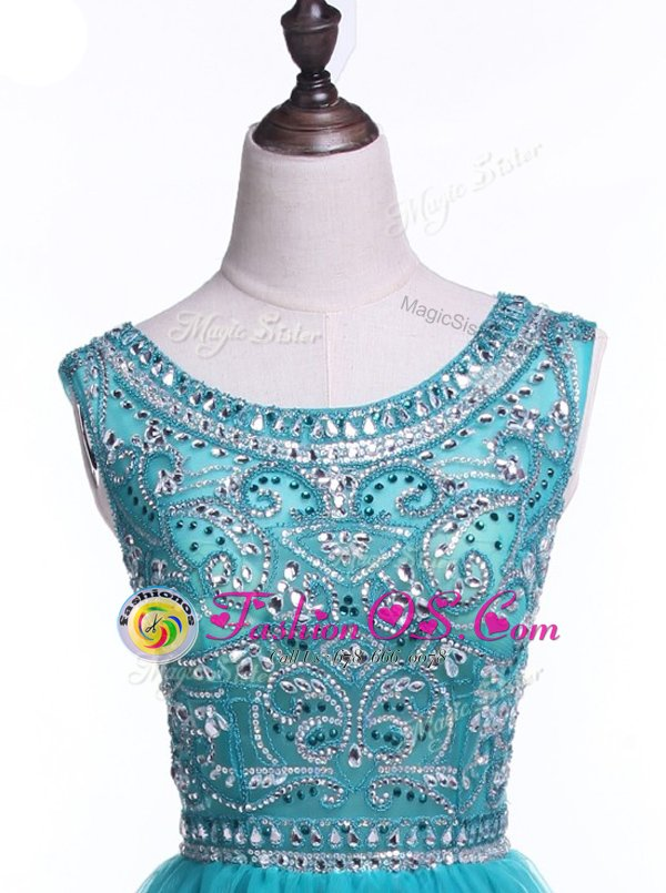 Flare Scoop Mini Length Teal Prom Gown Tulle Sleeveless Beading and Sequins