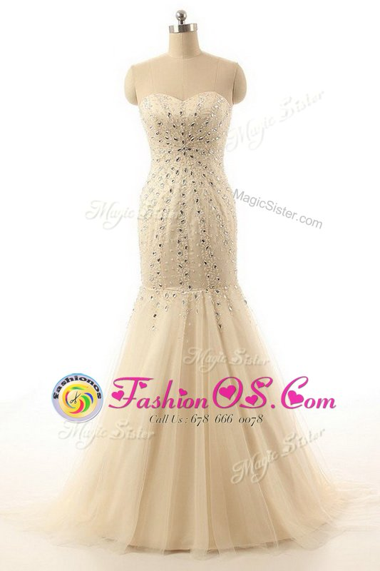 Mermaid Sleeveless With Train Beading Zipper Dress for Prom with Champagne Brush Train