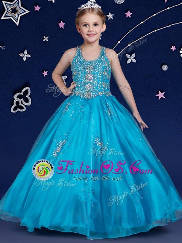 Luxury Blue Organza Zipper Scoop Sleeveless Floor Length Flower Girl Dresses Beading