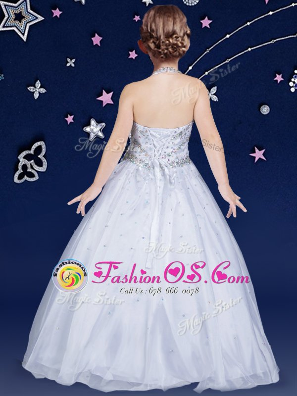 Latest Halter Top Sleeveless Organza Floor Length Lace Up Flower Girl Dresses in White for with Beading
