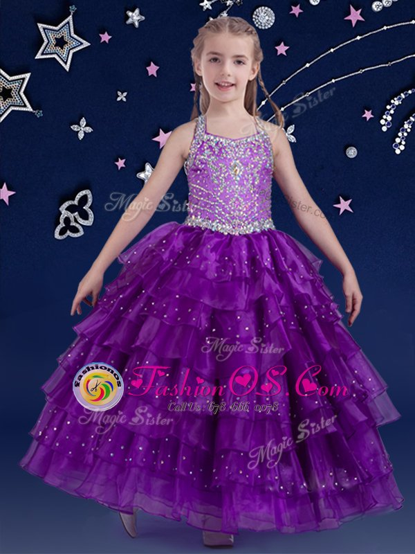 Cute Eggplant Purple Flower Girl Dresses Quinceanera and Wedding Party and For with Beading and Ruffled Layers Halter Top Sleeveless Zipper