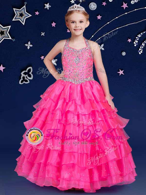 Hot Pink Ball Gowns Halter Top Sleeveless Organza Floor Length Zipper Beading and Ruffled Layers Little Girl Pageant Gowns