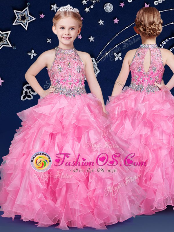 Halter Top Rose Pink Zipper Little Girl Pageant Gowns Beading and Ruffles Sleeveless Floor Length