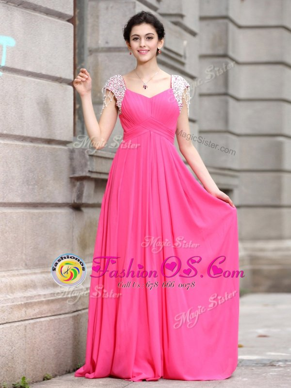 Hot Pink Silk Like Satin Zipper V-neck Cap Sleeves Floor Length Prom Party Dress Beading