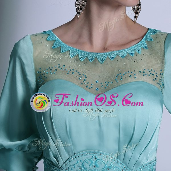 Chiffon Half Sleeves Floor Length Prom Dresses and Sequins and Pleated
