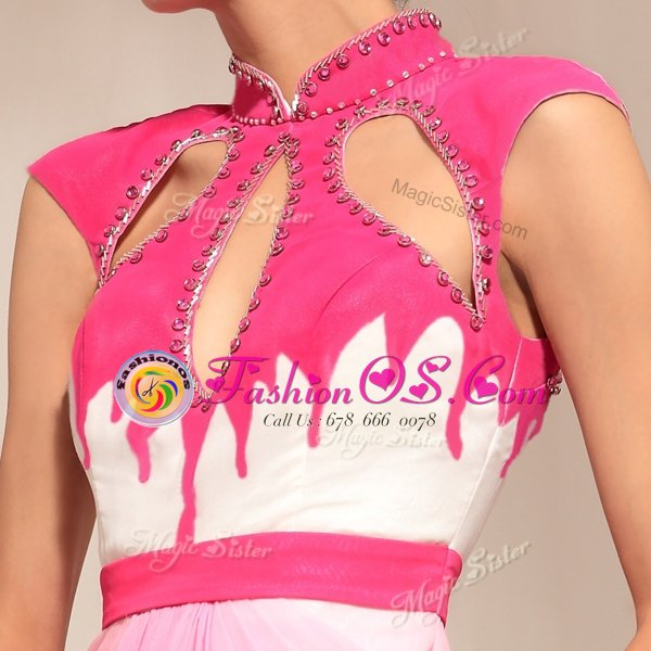 Comfortable Sleeveless Chiffon Floor Length Zipper Evening Dress in Hot Pink for with Beading