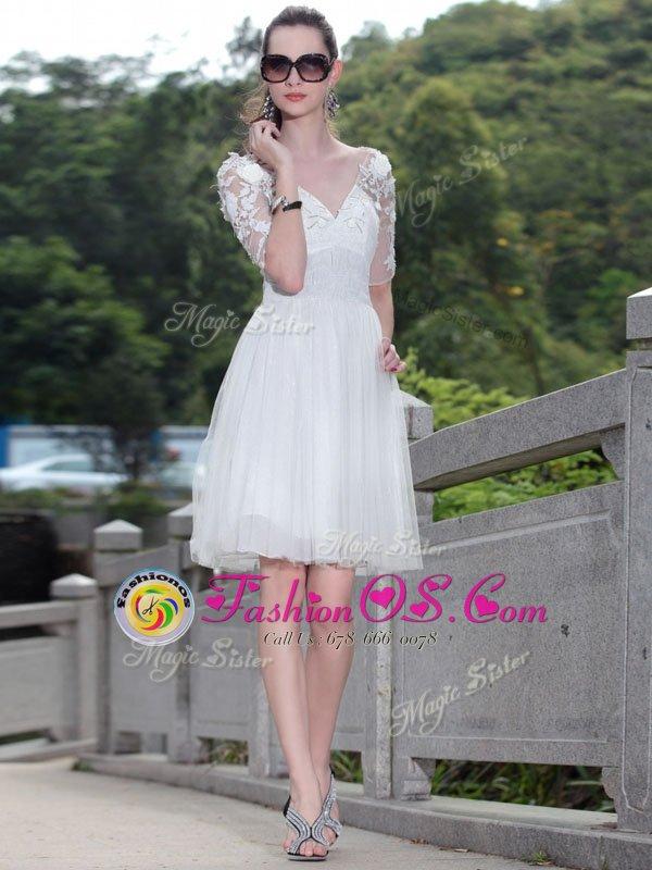 Knee Length White Mother Of The Bride Dress V-neck Sleeveless Zipper