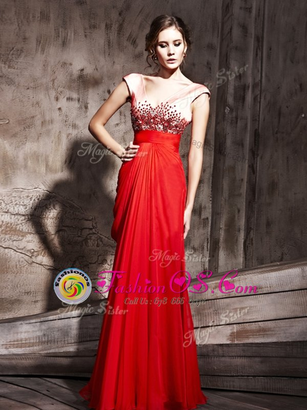 Noble Coral Red Cap Sleeves Chiffon Backless Homecoming Dress Online for Prom and Party