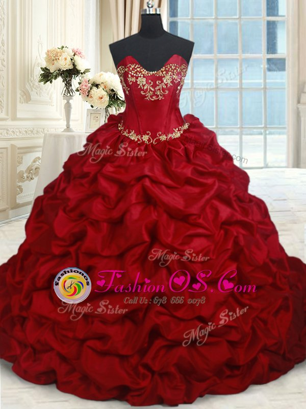 Chic Wine Red Sweetheart Neckline Beading and Pick Ups Vestidos de Quinceanera Sleeveless Lace Up
