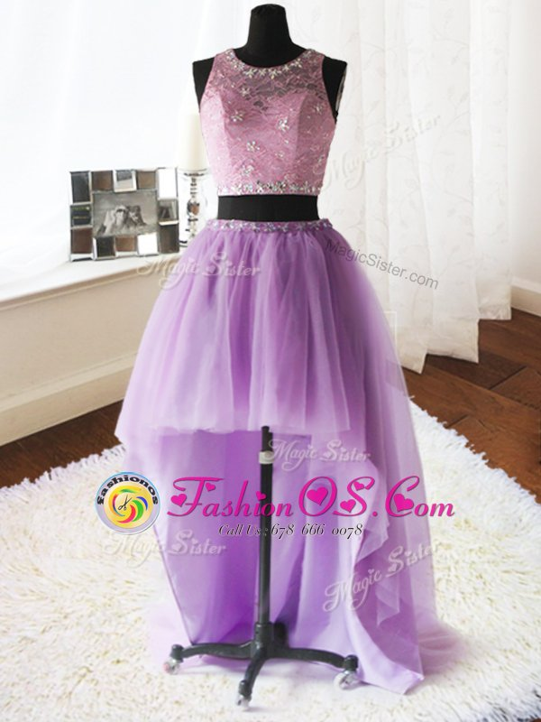 Lilac Zipper Scoop Beading and Ruffles Sweet 16 Dress Organza and Tulle Sleeveless