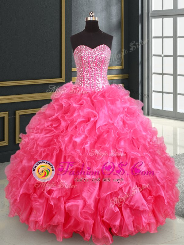 Cute Sleeveless Organza Floor Length Lace Up Quince Ball Gowns in Hot Pink for with Beading and Ruffles and Sequins