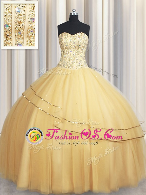 Gold Ball Gowns Beading and Sequins Ball Gown Prom Dress Lace Up Tulle Sleeveless Floor Length