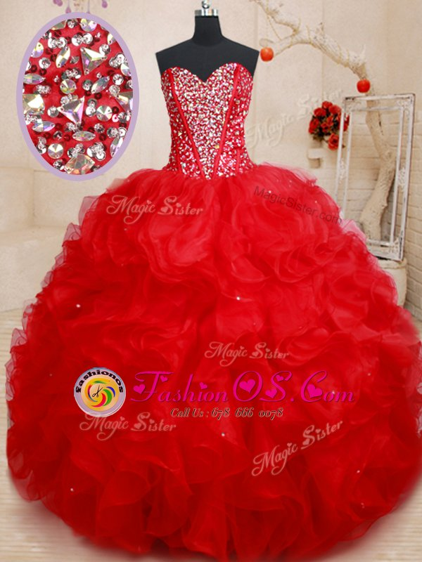 Nice Organza Sweetheart Sleeveless Lace Up Beading and Ruffles Quinceanera Dresses in Red