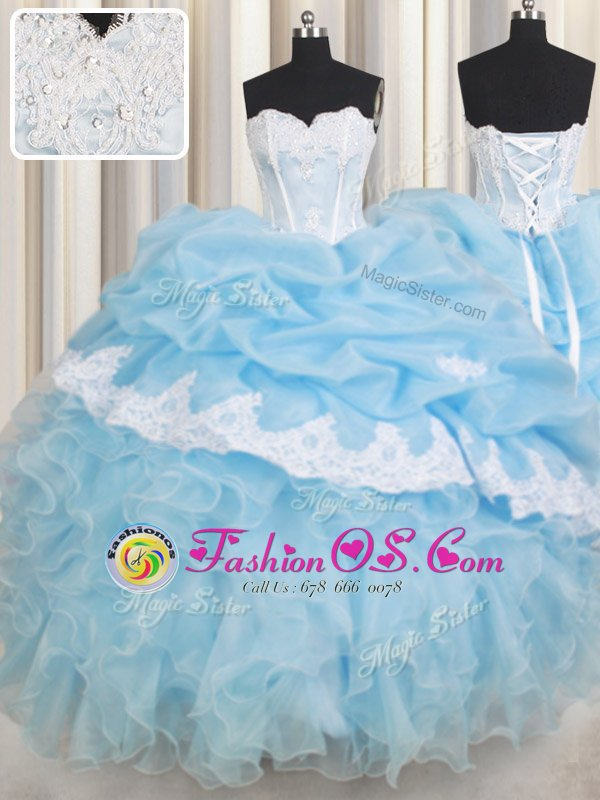 Sleeveless Lace Up Floor Length Beading and Lace and Ruffles and Pick Ups Sweet 16 Dress