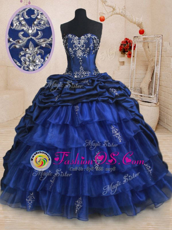 Royal Blue Sweetheart Neckline Beading and Ruffled Layers and Pick Ups Ball Gown Prom Dress Sleeveless Lace Up