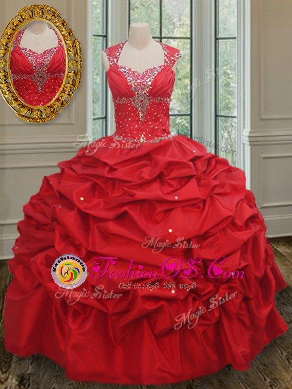 Custom Made Straps Taffeta Cap Sleeves Floor Length Quinceanera Dress and Beading and Pick Ups