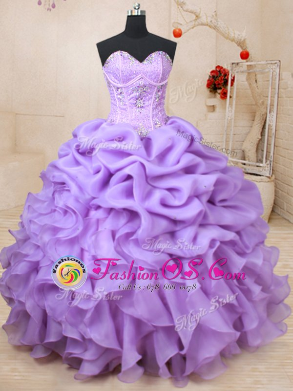 Glorious Lavender Sleeveless Beading and Ruffles and Pick Ups Floor Length 15 Quinceanera Dress