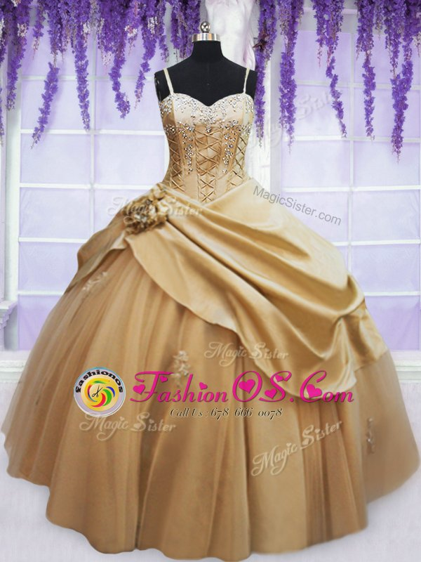 Customized Sleeveless Taffeta Floor Length Lace Up Sweet 16 Dresses in Champagne for with Beading and Appliques and Hand Made Flower