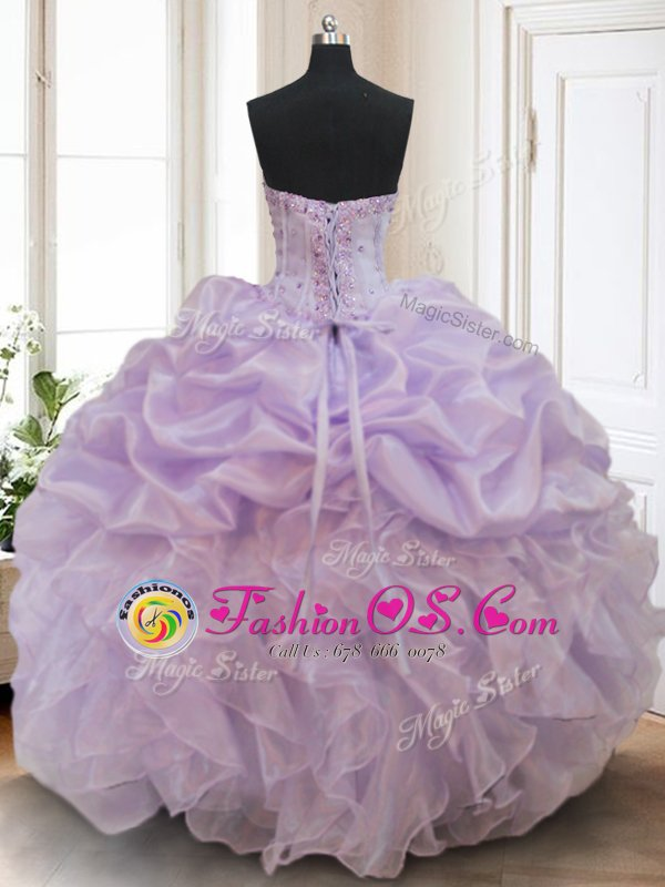 Red Quinceanera Gown Military Ball and Sweet 16 and Quinceanera and For with Beading and Appliques and Pick Ups Sweetheart Sleeveless Lace Up