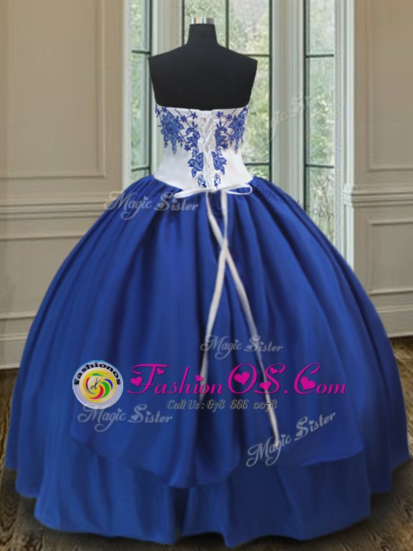 Custom Designed Royal Blue Sweetheart Lace Up Embroidery Quinceanera Gown Sleeveless