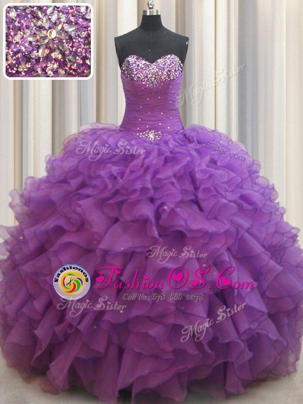 Eggplant Purple Sweetheart Neckline Beading and Ruffles Sweet 16 Dress Sleeveless Lace Up