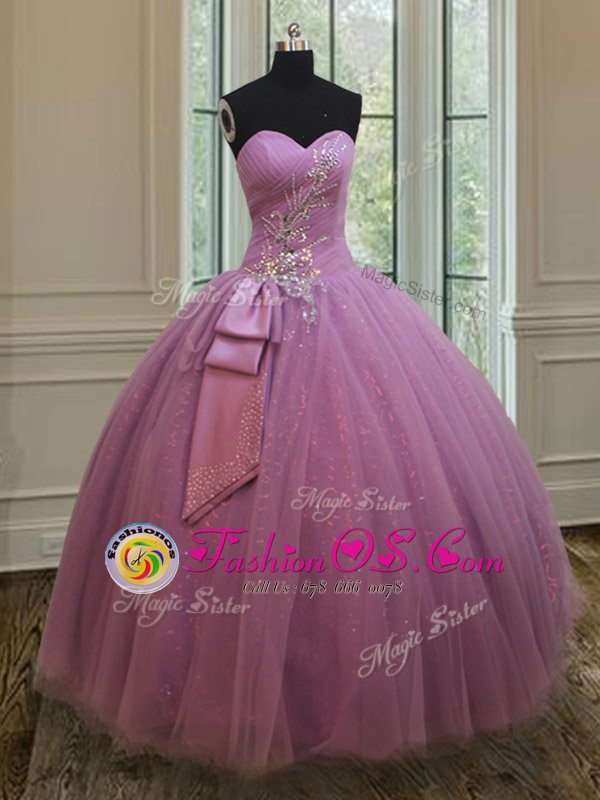Best Sleeveless Tulle Floor Length Lace Up 15 Quinceanera Dress in Lilac for with Beading and Belt