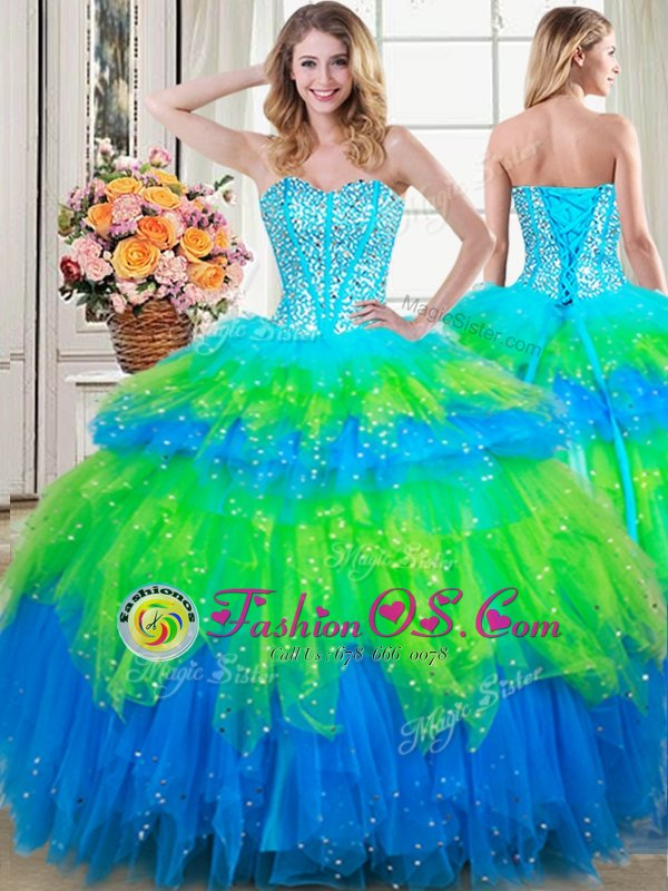 Three Piece Floor Length Light Blue Sweet 16 Dresses Sweetheart Sleeveless Lace Up
