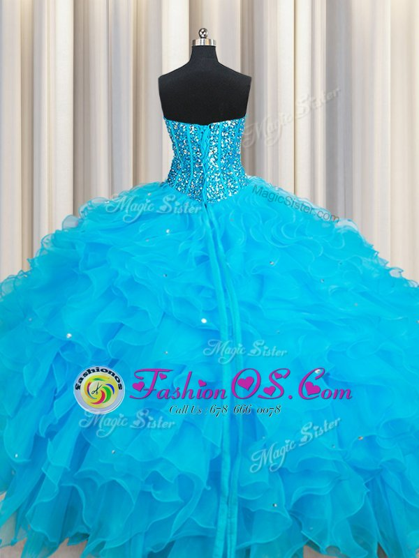 Modest Three Piece Tulle Sweetheart Sleeveless Lace Up Beading Quinceanera Dress in Teal