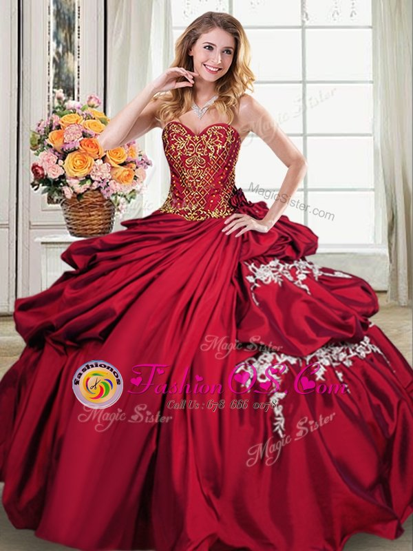 Gorgeous Wine Red Sweetheart Lace Up Beading and Appliques and Pick Ups Quinceanera Dress Sleeveless