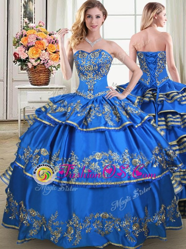 Fabulous Sleeveless Taffeta Floor Length Lace Up 15 Quinceanera Dress in Blue for with Beading and Embroidery and Ruffled Layers