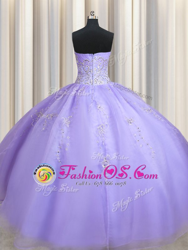 Cheap Lavender Sweetheart Neckline Beading Quinceanera Dress Sleeveless Zipper