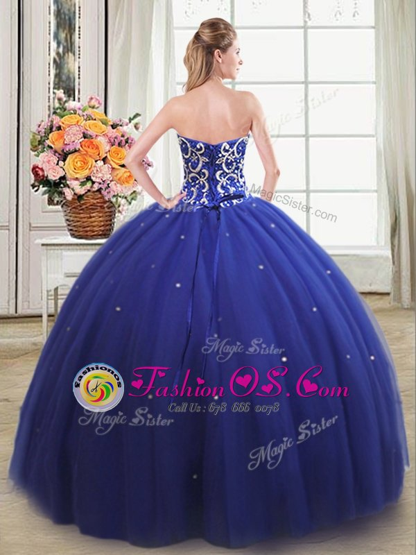 Suitable Royal Blue Sweetheart Lace Up Beading Quinceanera Dresses Sleeveless