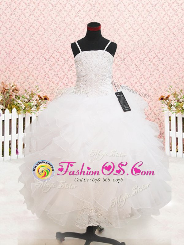 Strapless Sleeveless Flower Girl Dresses for Less Floor Length Beading and Lace and Ruffles White Organza