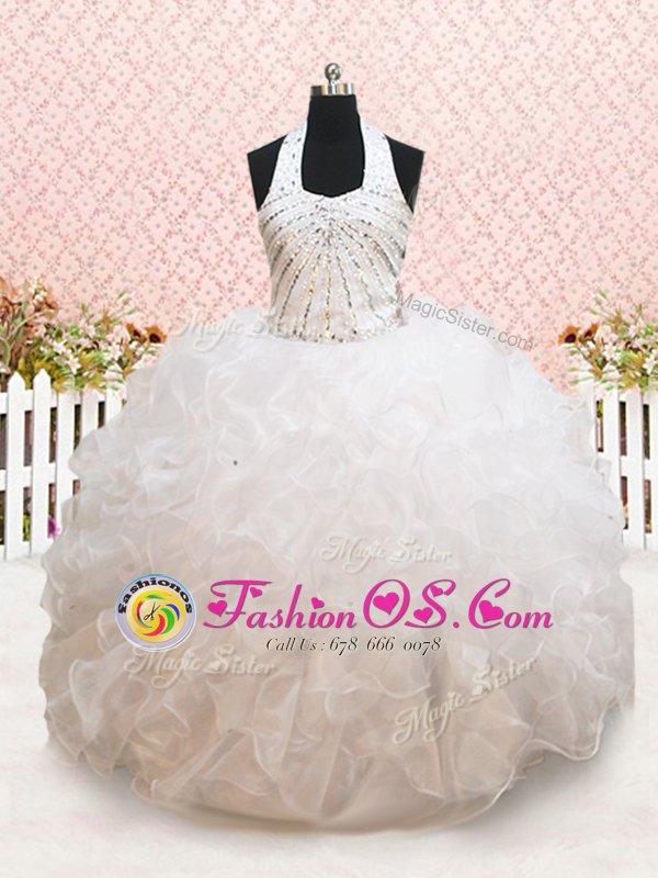 Captivating Halter Top White Sleeveless Beading and Ruffles Floor Length Toddler Flower Girl Dress
