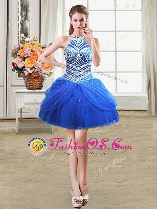 Royal Blue Prom Dresses Prom and Party and For with Beading and Pick Ups Halter Top Sleeveless Lace Up