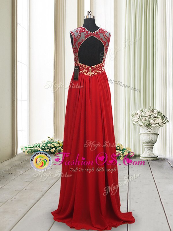 Red Backless Scoop Appliques Hoco Dress Chiffon Sleeveless Brush Train