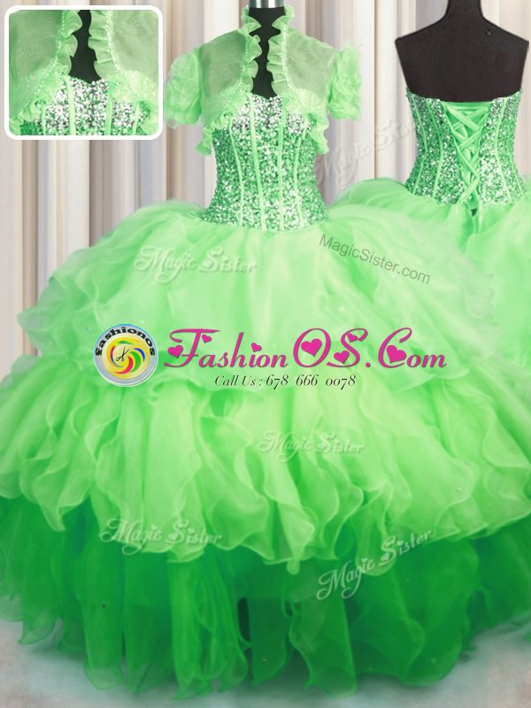 Multi-color Sweetheart Neckline Beading and Ruffles Sweet 16 Dresses Sleeveless Lace Up