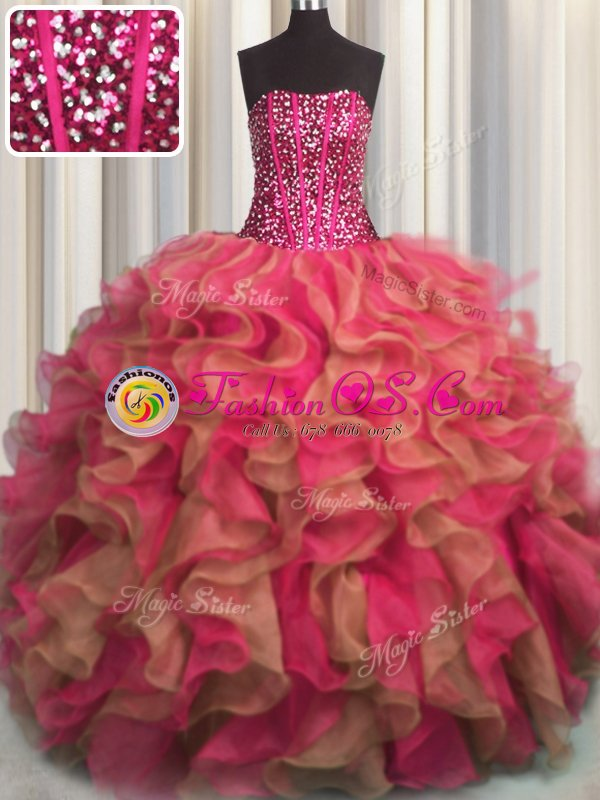 Latest Visible Boning Sleeveless Beading and Appliques and Ruffles Lace Up Quince Ball Gowns
