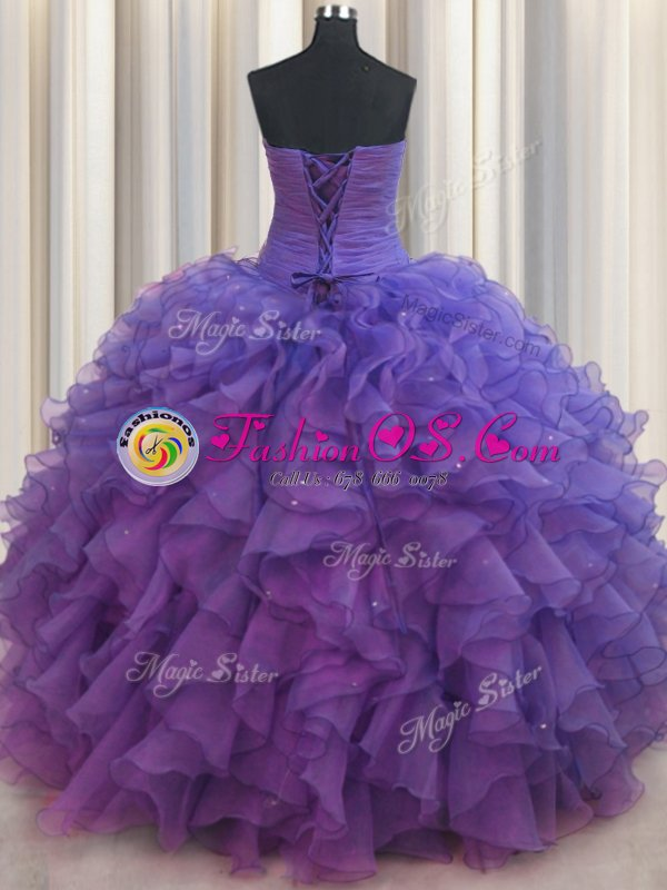 High Class Beaded Bust Ball Gowns Quinceanera Dresses Purple Sweetheart Organza Sleeveless Floor Length Lace Up