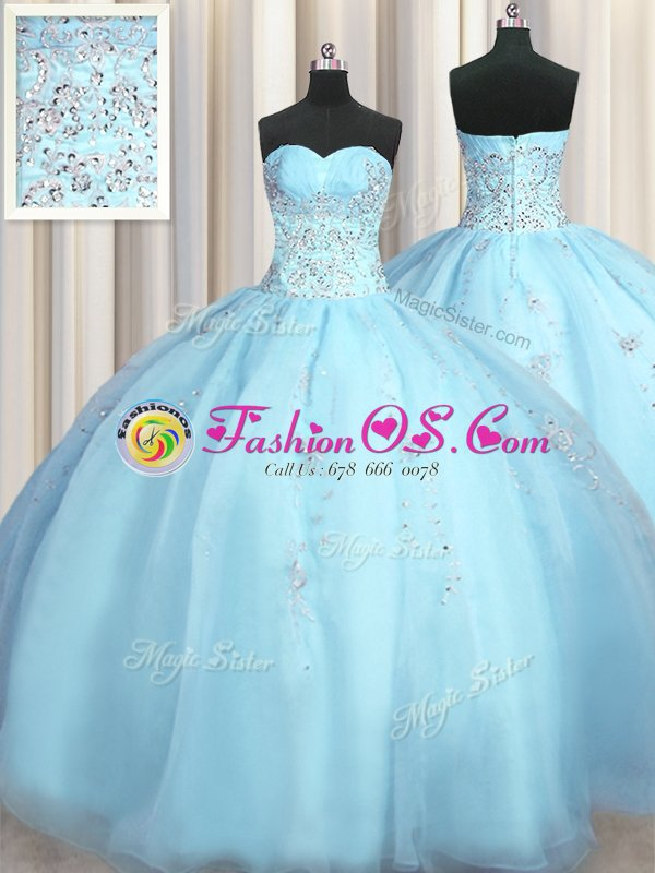 Big Puffy Baby Blue Ball Gowns Beading and Appliques Vestidos de Quinceanera Zipper Organza Sleeveless Floor Length