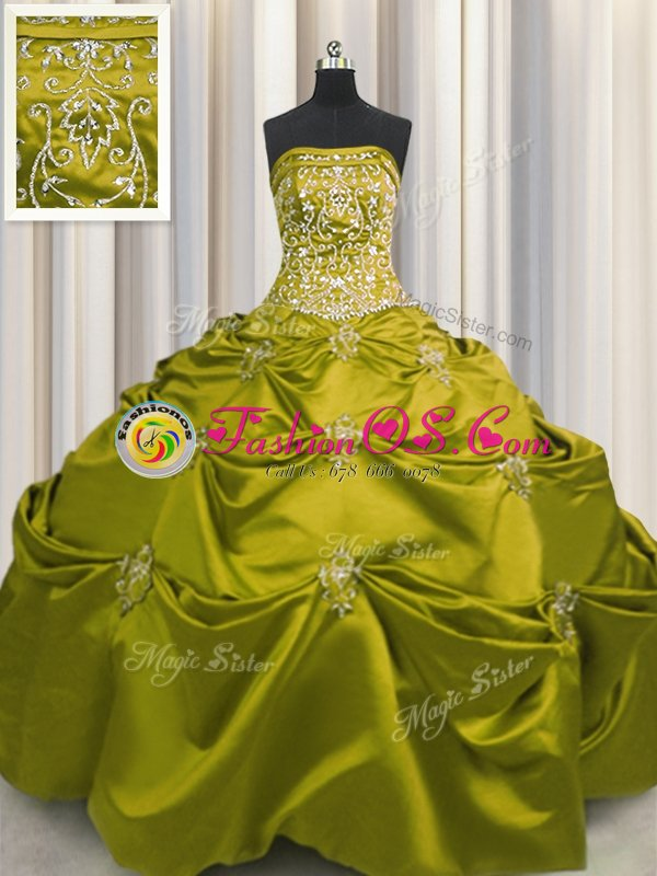 Dramatic Beaded Bust Floor Length Ball Gowns Sleeveless Green Sweet 16 Dresses Lace Up