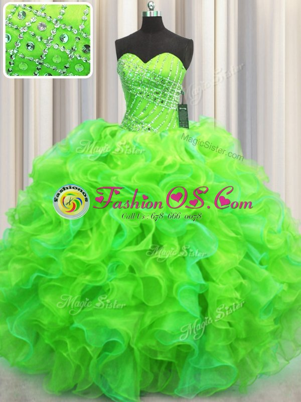 Gorgeous Floor Length Yellow Green Quinceanera Gown Sweetheart Sleeveless Lace Up