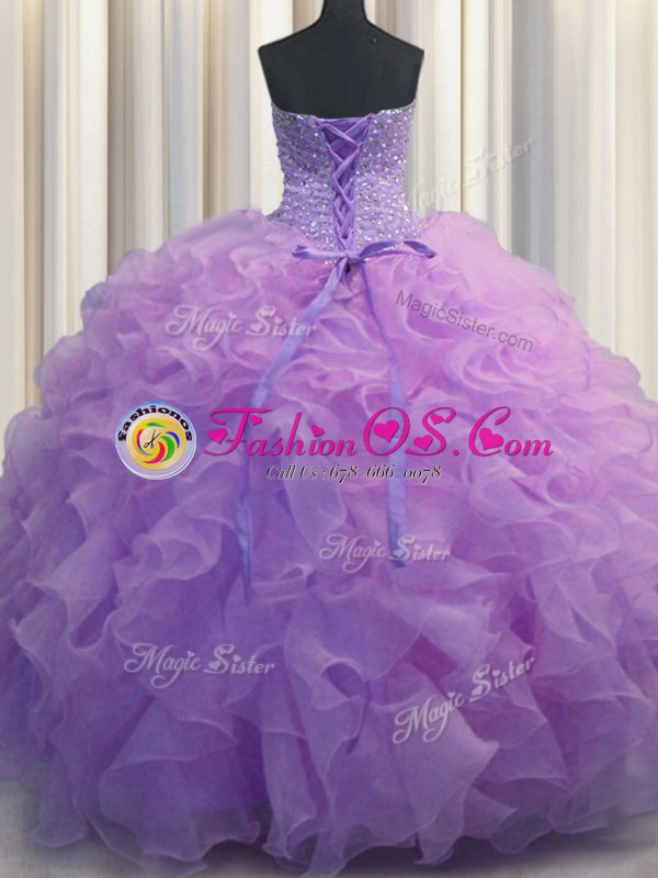 Attractive Sleeveless Organza Floor Length Lace Up Quinceanera Dress in Lavender for with Beading and Ruffles